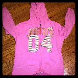 Justice zip up hoodie size 6
